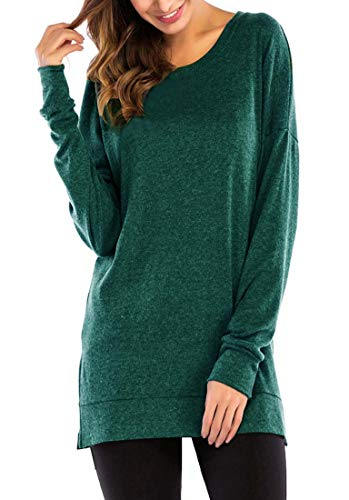 GSVIBK Womens Round Neck Pullover Tunics Casual Long Sleeve Side Split Tunic Sweatshirt Loose Tunic T Shirt Tops Dark Green 209 XL
