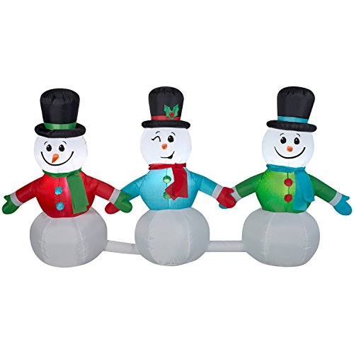 Airblown Inflatable 8 Foot (8 Ft Wide Pathway Snowmen Lightshow Musical Airblown Inflatable - Plays