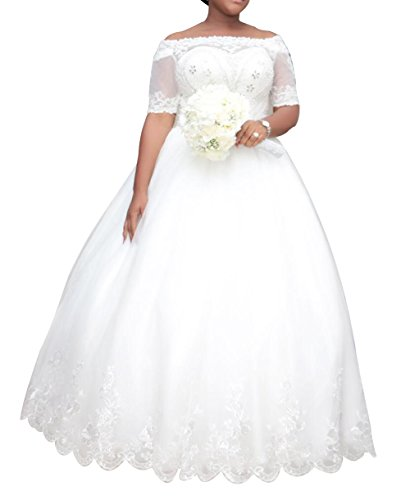 Dreamdress-Womens-Plus-Size-Wedding-Dresses-Half-Sleeve-Lace-Bridal-Ball-Gowns