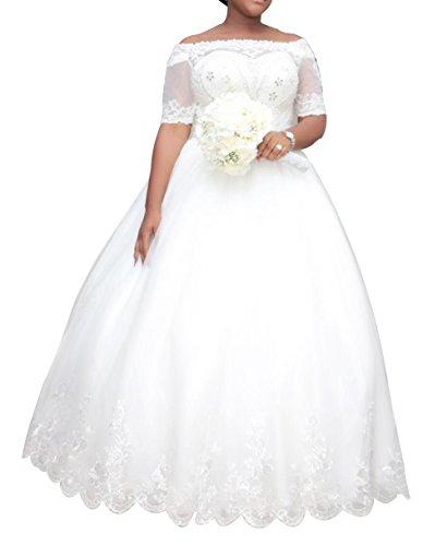 Dreamdress Womens Plus Size Wedding Dresses Half Sleeve Lace Bridal