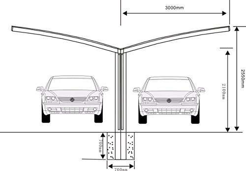 20' x 20' Double Carports Metal Carport Tent Garage Canopy Aluminum Carport Durable With Gutter Metal Vehicle Shelter for Car, RV, Yacht and Copter, Also Is Luxury Patio Cover by ClearYup (Image #2)