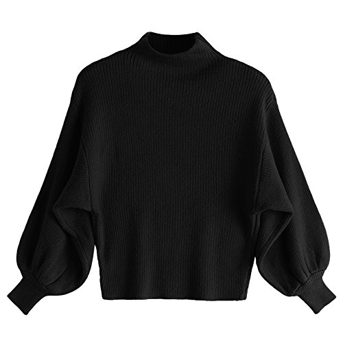 Drop Neck Sweater (Dezzal Women's Lantern Sleeve Mock Neck Drop Shoulder Pullover Knitted Sweater (Black))