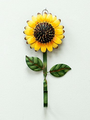New Metal Sunflower Home Hook Great Home&Kitchen Keys,Coats,Utilities Hook Decor by GRACE HOME 2 Metal hook with sunflower design Sturdy and Durable: Metal sunflower hook, about 11 inches long, and the flower is 5 and 1/2 inches across. The hook/stem part is about 0.5 inch wide Multi-Purpose Hooks: You can hang your towel, keys, leashes, hat or other small items and it also provides you the ability to decorate your house while using a practical accessory