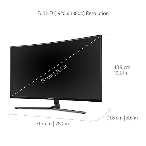 ViewSonic VX3258-PC-MHD 32 Inch 1080p Curved 165Hz 1ms Gaming Monitor with FreeSync Premium Eye Care HDMI and Display Port