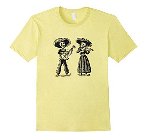 Mens Mexican Skeleton T-Shirt - Cinco De Mayo Shirt Large Lemon