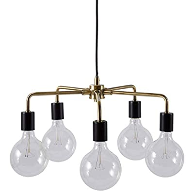 """Rivet 5-Arm Industrial Pendant Chandelier, 36""""H, With Bulbs, Black and Brass Finish"""