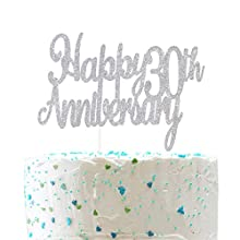 Happy 30th Anniversary Cake Topper,Cheers to 30 Years,Thirtieth Wedding Retirement Anniversary Party Decorations (Double Sided Sliver Glitter )