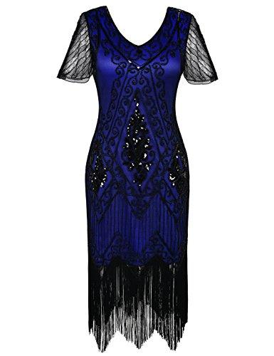 PrettyGuide Women's 1920s Dress Art Deco Cocktail Dress Short Sleeve 3XL Black Blue
