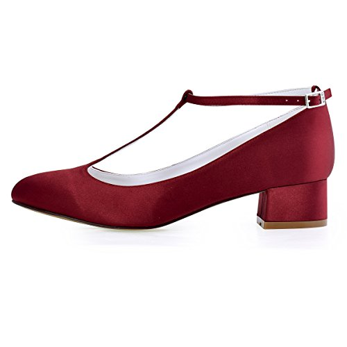 Satin Dark Women Chunky Shoes Evening Strap Closed ElegantPark Heel Dress Red Pumps Wedding T Toe H4aaCwx8q