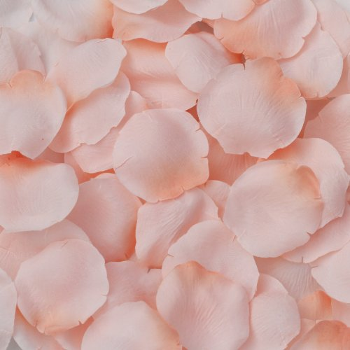 Bridal Shower Candle Basket - Peach Silk Rose Petals - 250 Petals - Wedding Centerpiece