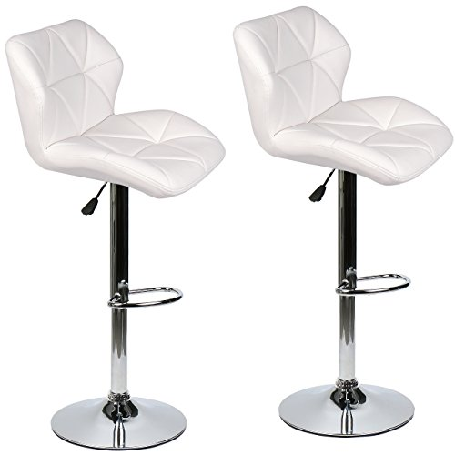 ELECWISH Bar Stools Set of 2 White PU Leather Seat with Chrome Base Swivel Dining Chair Barstools (White 2pc)