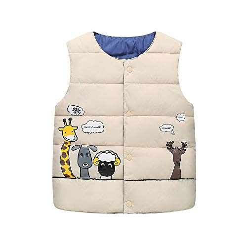 Baby Boys Girls Vest Coat Sleeveless Lightweight Cartoon Animal Winter Waistcoat Jacket Clothes (age: 2-3 years old, Khaki)