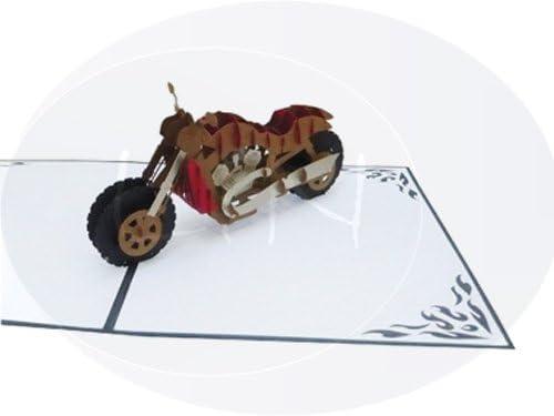 Pop Up 3D Carte de voeux Moto LIN chopper