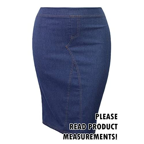 9a52dc7de Women's Juniors Plus Size Stretch Denim Pencil Skirt Knee Length Casual good