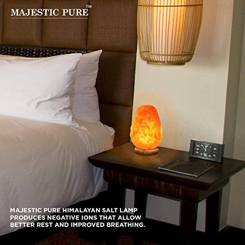 Majestic Pure Himalayan Salt Lamp - Natural Pink Salt Rock Lamp, Hand Carved, Wooden Base, Brightness Dimmer, 3 Bulbs, UL-Listed Cord and Gift Box, 8-11 lbs by Majestic Pure (Image #2)