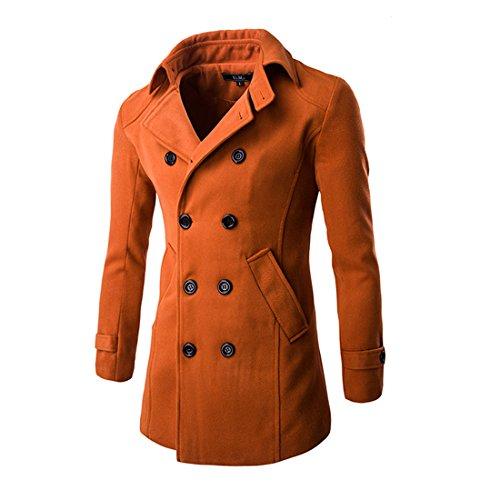 Brick Orange Mens Wool - Mada Men's Double Breasted Synthetic Wool Coat Slim Fit Classic Windbreaker Asian Large Brick Red