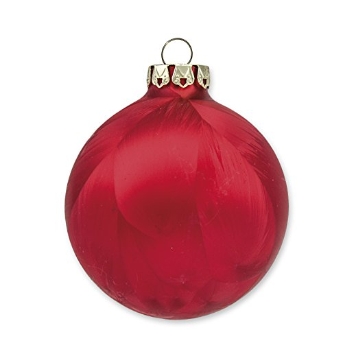 Christmas Ornaments, Christmas Balls, Glass, Handmade, Ice-Red Collection, 18 pc Set, 6x8cm (3.15