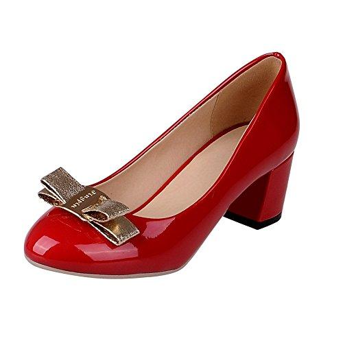 Balamasa Damer Spunnet Guld Bowknot Runt Tå Lackläder Pumpar-skor Röd