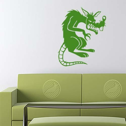 Sneaky Rat Decal Sticker (green, 14 inch reversed) removable for indoor wall home