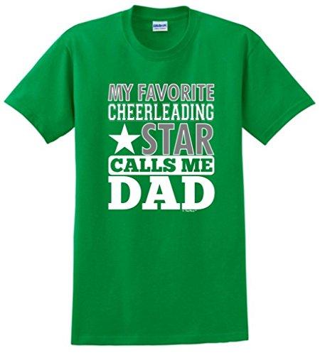 T-shirt Dad Green Team (My Favorite Cheerleading Star Calls Me Dad T-Shirt Large Green)