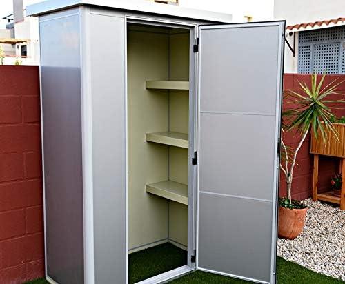 Armario metálico Exterior con Aislamiento térmico Color Gris Metalizado diseño Moderno con Cerradura y estanco 1.35 x 0.72 MTS: Amazon.es: Jardín