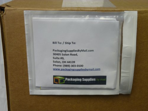 "Clear Packing List Enclosed Envelope Plain Face Back Load 2.0 Mil Thick - 4.5"" X 5.5"" 1000/Case"