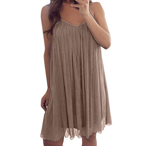 - Reokoou Women Sexy Sleeveless Spaghetti Strap Chiffon Vest Casual Loose Mini Dress Khaki