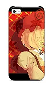 Tpu Shockproof/dirt-proof Blondes Video Games Touhou Dress Text Fruits Ribbons Goddess Grapes Shortaprons Choker Profile Hats Apples Aki Minoriko Bangs Cover Case For Iphone(5c)