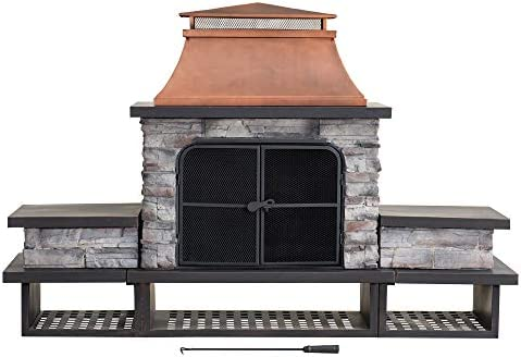 Sunjoy A304001200 Atticus Wood Burning Fireplace, Copper