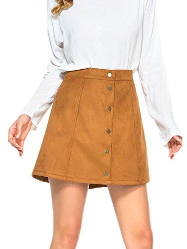 Persun Women's Faux Suedettte Button Closure Plain A-line Mini Skirt, Kahki, L