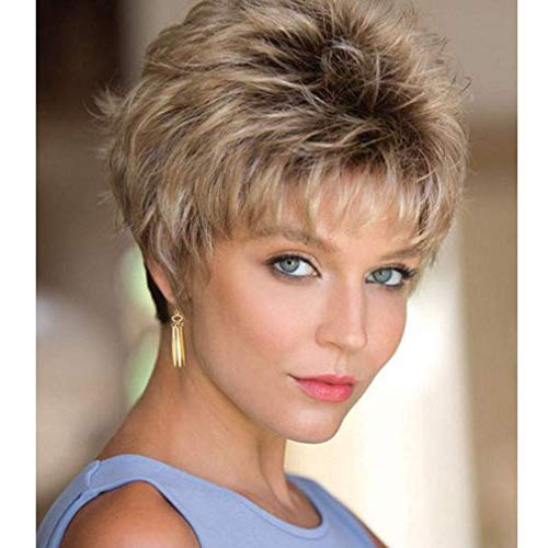 MEILEDA Short Blonde Wigs for White Women Pixie Wigs Black Rooted Ombre Blonde Natural Wigs Straight Bob Hair Wigs Heat Resistant Synthetic Full Wigs with Wig Cap -