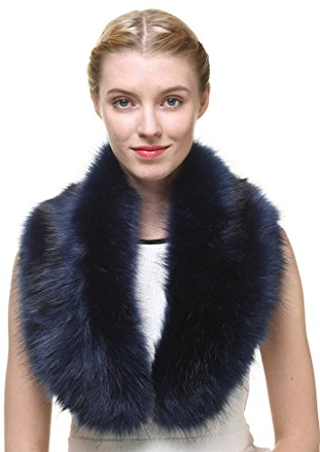 Blue Fox Fur Scarf (Vogueearth Women'Neck Scarf For Winter Coat Collar Faux-Fox Fur Dark Blue)