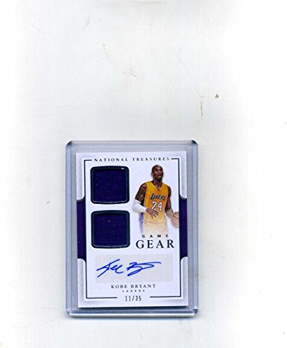2016-17 Panini National Treasures Kobe Bryant Dual Game Jersey/Autograph #11/35 - Panini Certified - Basketball Autographed Game Used Cards -