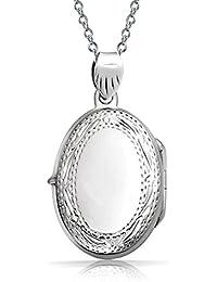 Engravable Vintage Style Engraved Oval Locket Sterling Silver Pendant