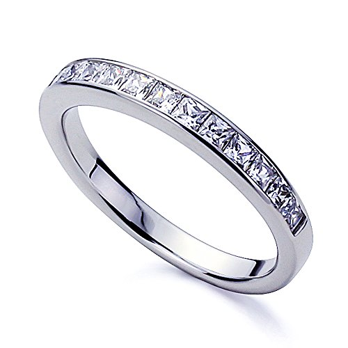 Platinum Plated Sterling Silver 1ct Princess CZ Channel Setting Wedding Band ( Size 5 to 9 ), 7 (Wedding Band Platinum compare prices)