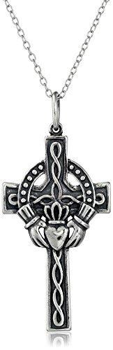 Oxidized Celtic Cross Pendant - Sterling Silver Oxidized Celtic Claddagh Cross Pendant Necklace, 18