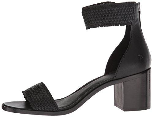 FRYE Women's Bianca Woven Back Zip Heeled Sandal, Black, 7.5 M US by FRYE (Image #5)