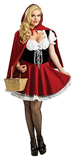 DOKER Women's Plus Size Little Red Riding Hood Halloween Cosplay Costume Make up Party Dress Red XXXL -