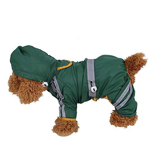 Filfeel Pet Raincoat, Waterproof Jacket Cat Dog Hood Rain Coat Reflective Jumpsuit Apparel(Green XXL)