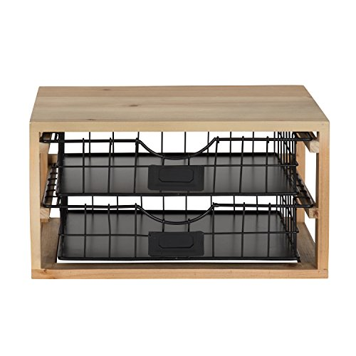 Kate and Laurel Tanner Rustic Wood and Metal Desktop Drawer Organizer Letter Tray by Kate and Laurel (Image #1)