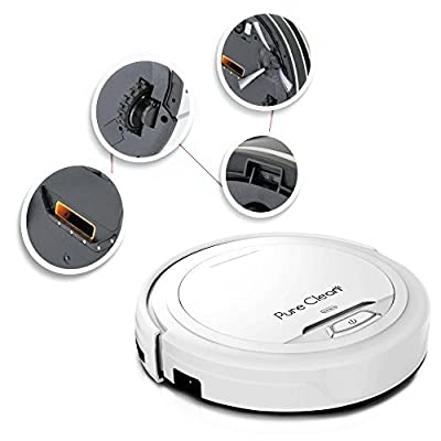 Automatic Robot Vacuum Cleaner for Automated Home Cleaning on Carpet and Hardwood Floor - HEPA Filter Pet Hair and Allergy Friendly - PureClean PUCRC25