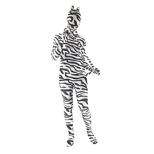 Flameer 全身タイツ 斑馬の柄 ユニセックス 尾と耳付き 着ぐるみ 白と黒 仮装 コスチューム パーティー ダンス  舞台衣装  着やすい 快適 速乾性 全6サイズ        - XXL
