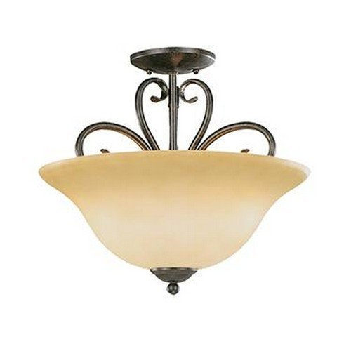 (Millennium Ceiling 6053-BG Three Light Semi-Flush Bowl Mount with Gold Finish,)