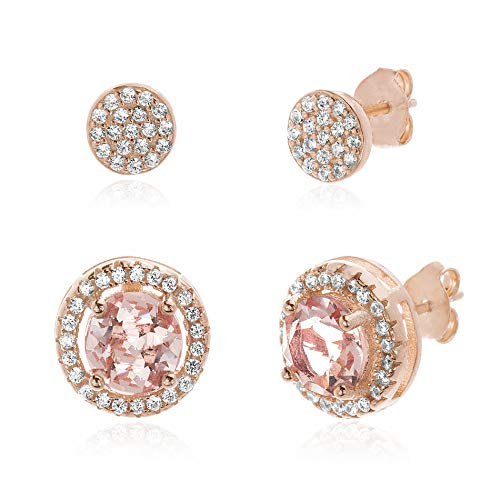 - Devin Rose Simulated Morganite and Cubic Zirconia Halo and Pavé Style Stud 2 Pair Earring Set for Women in Rose Gold Plated 925 Sterling Silver