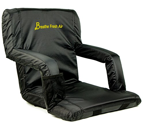 Memory Foam Stadium Bleacher Seat - Foam Chair with Back and Armrest - Adjustable and Waterproof Chair with Backpack Straps - Extra Wide Foam Seat - Perfect for Bleachers Lawns