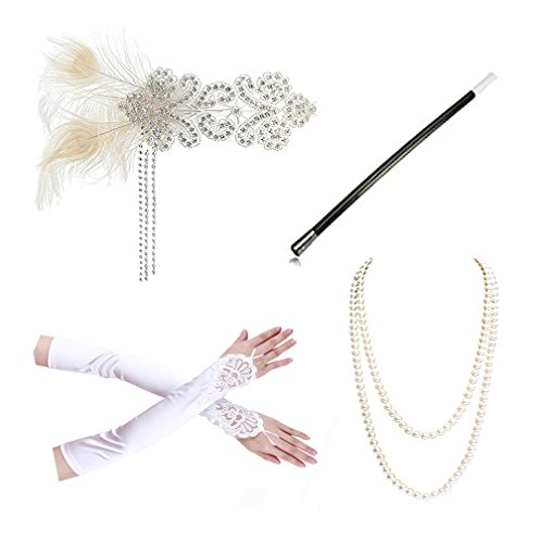 1920s Accessories Headband Necklace Gloves Cigarette Holder Flapper Costume Accessories Set for Women(C) for $<!--$16.99-->