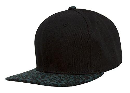 (TOP HEADWEAR TopHeadwear Leopard Print Two-Tone Adjustable Snapback - Black/Teal)