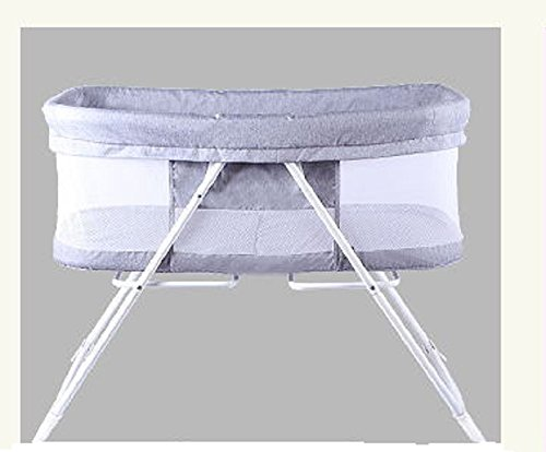 Folding Indoor & Outdoor Travel Bassinet For Baby, Blue and Grey by BABEE