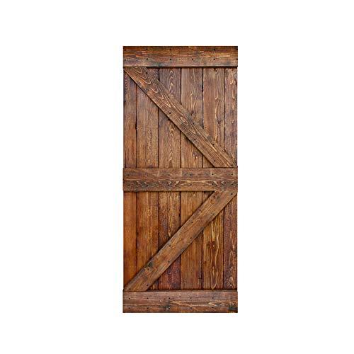 IsLife 36in X 84in K Series DIY Knotty Pine Wood Interior Sliding Barn Door Slab (Classic Walnut)