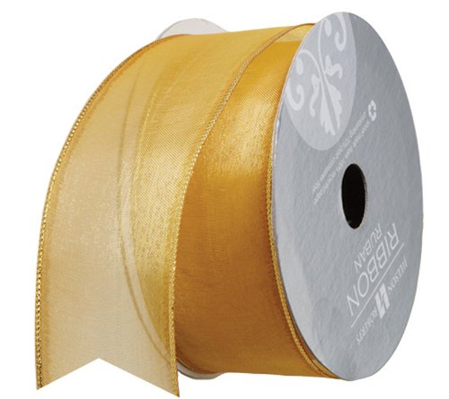 10' Metallic Bow (Jillson Roberts 1-3/8 Inch Wired Metallic Edge Sheer Ribbon Available in 5 Colors, Gold/Gold, 6-Count (FR3915))